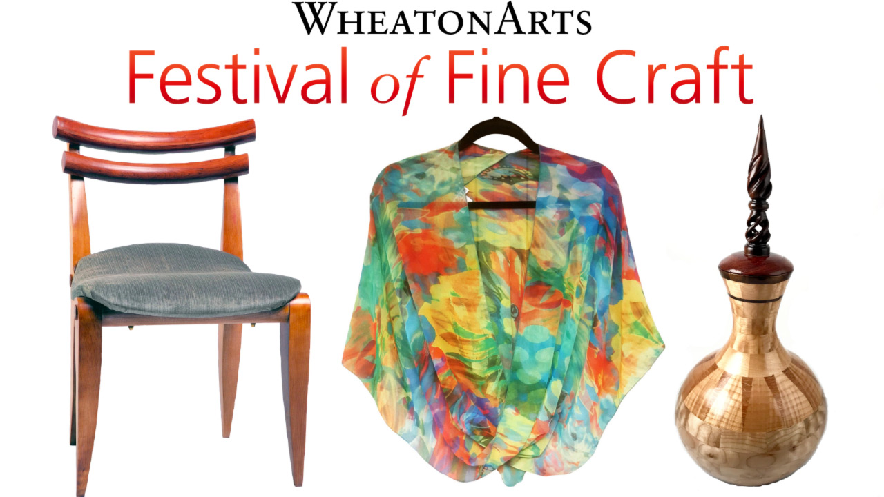 "Web banner with text ""WheatonArts, Festival of Fine Craft, Application deadline: April 20, 2021"" Background image of a handmade designer chair, painted silk shawl, and wooden vase with lid."