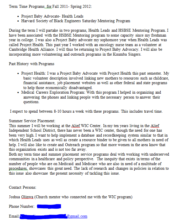 Community service reflection essay