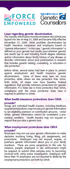 Genetic Information, privacy and discrimination