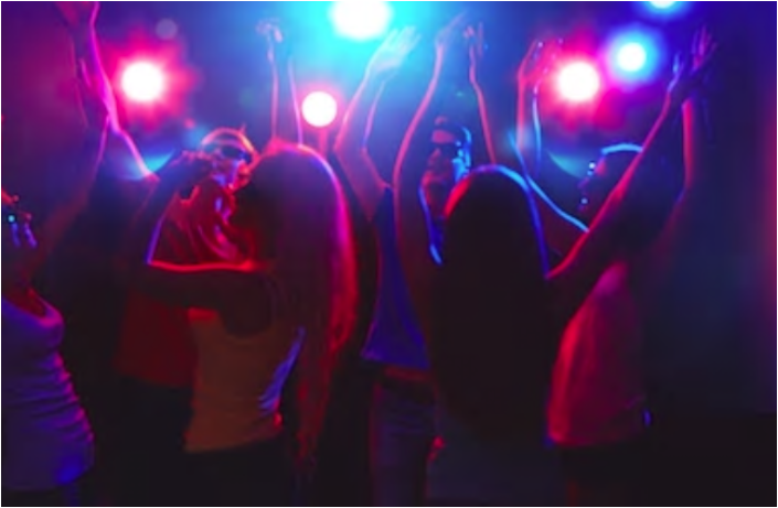 Party dance floor with lights