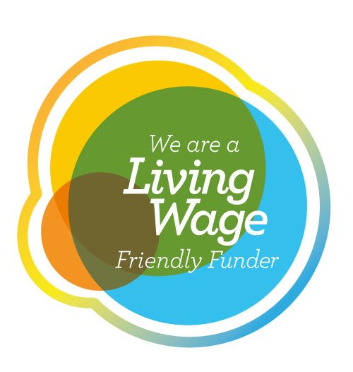Living Wage Friendly Funder logo with the words We are a Living Wage Friendly Funder inside it
