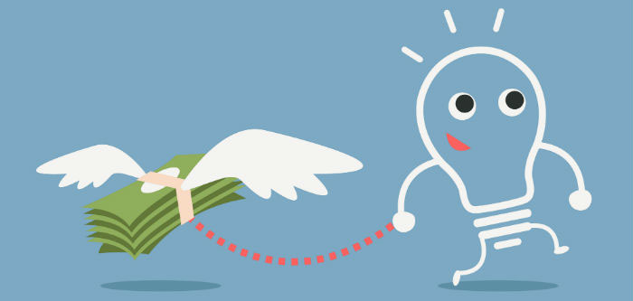Angel investing banner - money with wings and lightbulb