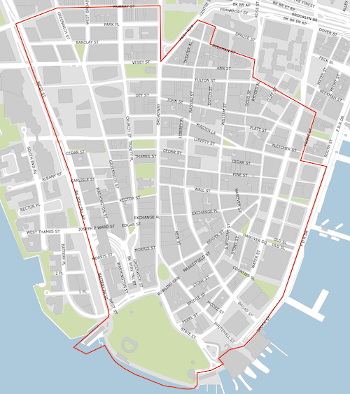 Lower Manhattan district map boundary