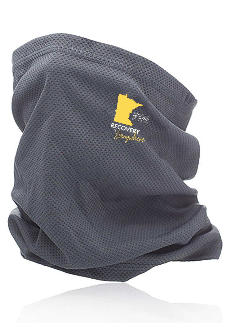Gray face gaiter with yellow logo