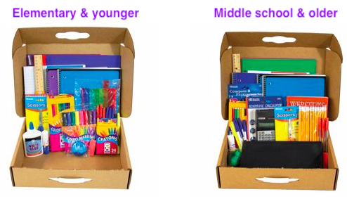 Elementary and younger, or middle school and older school supply kits.