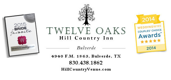 Twelve Oaks Hill Country Inn, a San Antonio Wedding venue in Bulverde Texas.  Winner of the Wedding Wire Couple's Choice Awards. Wedding venue phone number 830-438-1863