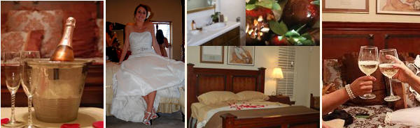 Wedding gallery pictures of honeymoon suite in San Antonio.  After you elope or have a small private wedding, relax in a luxurious honeymoon suite at our Bed and Breakfast in San Antonio.  Romantic and secluded hill country inn.