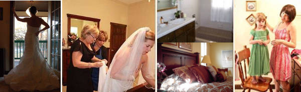 Elopement package or small wedding package. Includes a spacious bridal dressing room before the wedding, 4 pictures.