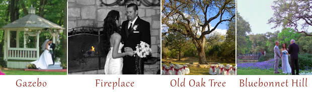 All inclusive wedding packages Austin Texas, San Antonio, Texas. Cheap venues include a wedding gazebo, beautiful picture of a wedding under a tree, a bluebonnet wedding venue and a fireplace indoor wedding.